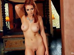 Elegant redhead shows her shaved pussy as well as the perfect boobs