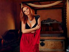 Redhead with a truly arousing body and her elegant striptease porn tube video