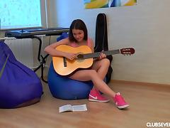She loves to play the guitar but the masturbation makes her happier!