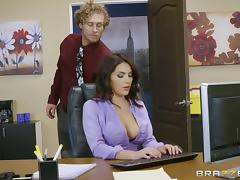 Curly-haired guy gives Valentina a nice ramming right there in office