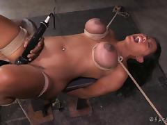 Girl with huge tits is attacked by the guy with loads of BDSM toys porn tube video