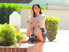Brunette in high heels modeling displaying her hot ass then masturbating