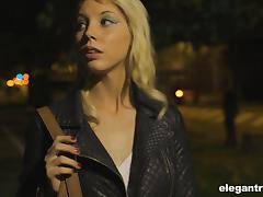 Elegant Kimber Delice and her first outdoors ganbang experience