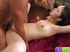 Asian brunette loves hard cock