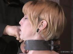Horny blonde slave lets her master tie her up and pleasure her twat porn tube video