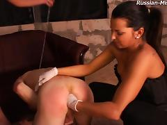 Pair of hot femdom girls having fun with the slave's anus