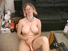 Busty girl plays with her new toy porn tube video