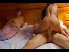Blond boy having sex with 2 girls
