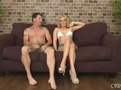 Sexy Kate England agrees to have her pussy stuffed on the couch