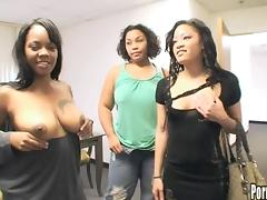 Live interracial casting of nice ass lesbian getting licked