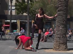 humiliated and punished by cruel mistress in public porn tube video