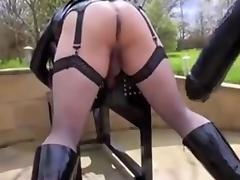 Ass stretching with giant strapon