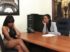 Black Lesbian, Cum, Ebony, Lesbian, Machine, Office
