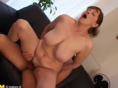 Lusty brunette cougar with massive melons Gloria rides a big shaft porn tube video
