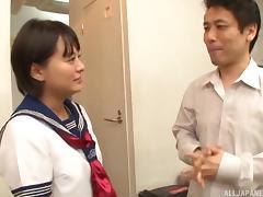 Sexy Japanese bimbo Mirai Aoyama likes being pummeled with a stiff rod