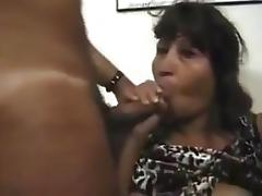 Sexy mature hispanic granny takes two