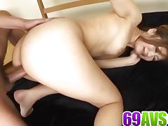 Asian gets her ass drilled