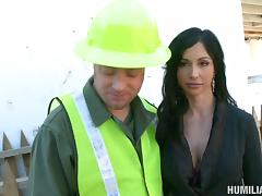 Classy bondage slave getting tortured at the construction site