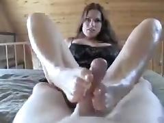 Great brunette footjob porn tube video