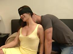 Blindfolded brunette hottie smiles during the hardcore pussy pounding porn tube video