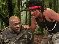 Parody military guys in uniform screwing ebony hardcore