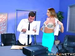 Busty Juelz Ventura sucks the dudes cock off in the office porn tube video