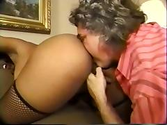 Old fart sniffs  licks black booty and masturbates