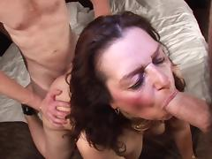 Naughty Dutch mature fatty Coosje gets rammed in a threesome porn tube video