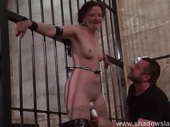 Slave Caroline Pierces frontal whipping and tied dungeon