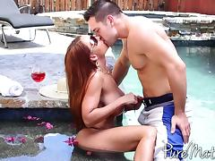 Horny pornstar with long hair loves big cock at the pool