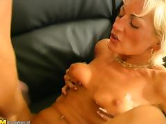 Experienced blonde called Tiffany getting pounded on the couch