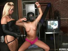 Two lustful bitches enjoy sharing a big cock in the dungeon