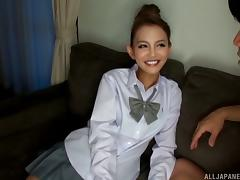 Japanese chick with pretty eyes gets her face decorated with man-juice porn tube video