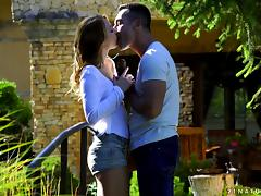 Horny Renato decides to bang Kira's shaved pussy in the backyard