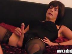 Horny Milf photographer makes TGirl slut spunk with hot wank porn tube video