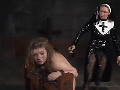 Cute Harley Ace almost cries while the horny nun tortures her pussy