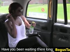 Ebony brit beauty sucking cock and balls