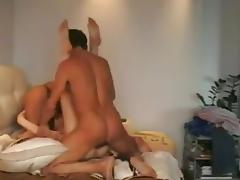 Russian whore + 2 guys. Different poses. porn tube video