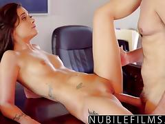 Sizzling brunette Gia Paige gets her pussy slammed