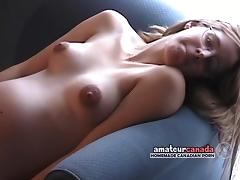 Skinny pregnant country geek fingering pussy wearing glasses tube porn video
