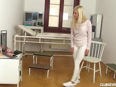 Cute golden-haired lass takes the realistic toy and plays with it porn tube video