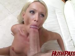 Sexy Blonde Milf struggles with Biggest White Cock!