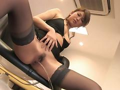 Sexy babe in stockings rubs her pussy lips solo tube porn video