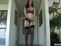 Beautiful classy babe Casey Calvert rides on a thick black member