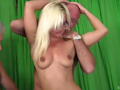 Sexy blonde with glasses and the guys with erections for her needs