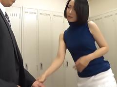 Sucking dicks in the locker room is Eri's most favorite activity