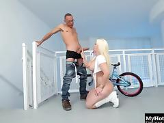 Stunning blonde with a big behind gets to rides on a monster shaft