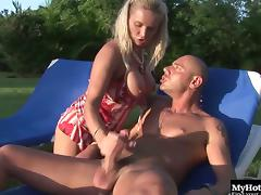 Outdoors adventure of a blonde cutie and a bald guy with an erection