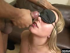 Foxy blindfolded blonde gets to ride on top of a black boner