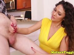Glam milf beauty giving silent handjob porn tube video